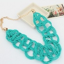 2014 Hot Candy colors Bohemia Fashion Vintage Sweet Elegant Charm Bead Cross Choker necklace Statement jewelry wholesale LS64(China (Mainland))