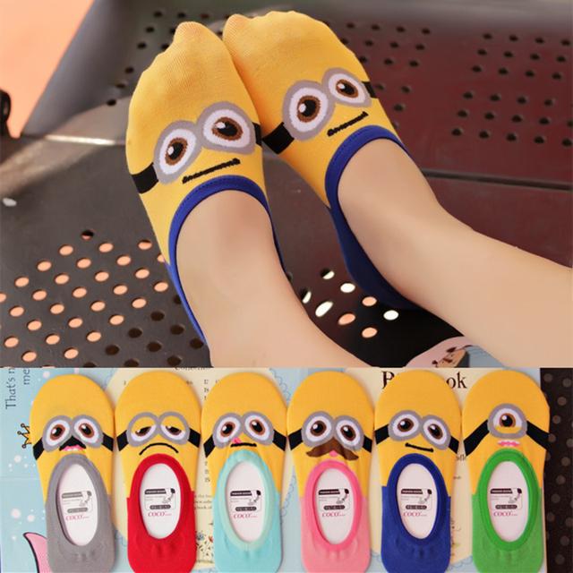 2016 лето женщины миньоны милый мультфильм Emoji носки мода женщины 3D миньонов носки ...