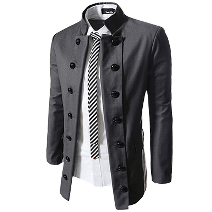Hot New Stylish 2014 High Quality Mens Blazer Jacket Double Breasted Slim Fit Cheap Nice Blazers Men Suits Coat Black/Grey M-XXL(China (Mainland))
