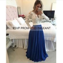 Manga larga azul marino vestido de fiesta 2016 v-cuello del cordón blanco perlas Sash palabra de longitud vestidos largos de baile elegante(China (Mainland))