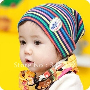 G1 Free shipping autumn winter kids/baby woolen multicolors striped knitted hats, 5pcs/lot
