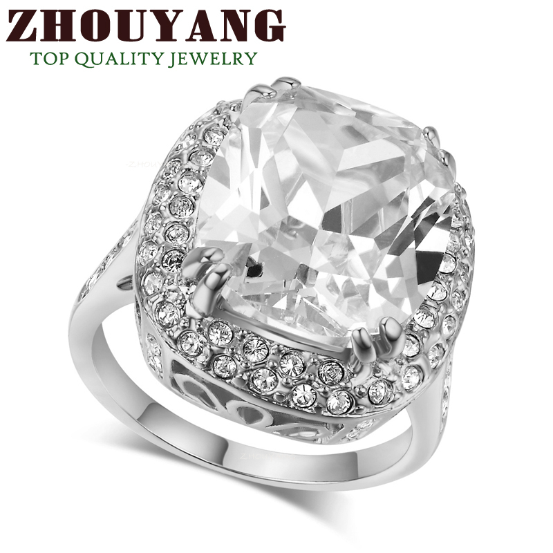 Top Quality R080 Big Four Claw Real White Gold Plated Princess Cut Zircon Wedding Ring Austrian Crystals Wholesale(China (Mainland))