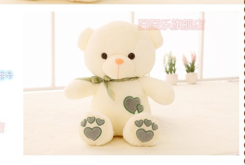 The lovely bow Teddy bear doll heart bear with loves on feet plush toy doll birthday gift green about 110cm