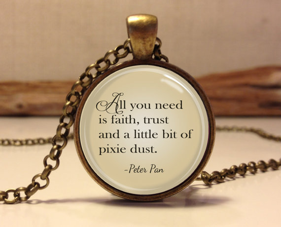 "(3 pieces/lot) Peter Pan Quote Jewelry ""All you need is faith trust and pixie dust"", Peter Pan Necklace art pendant jewelry(China (Mainland))"