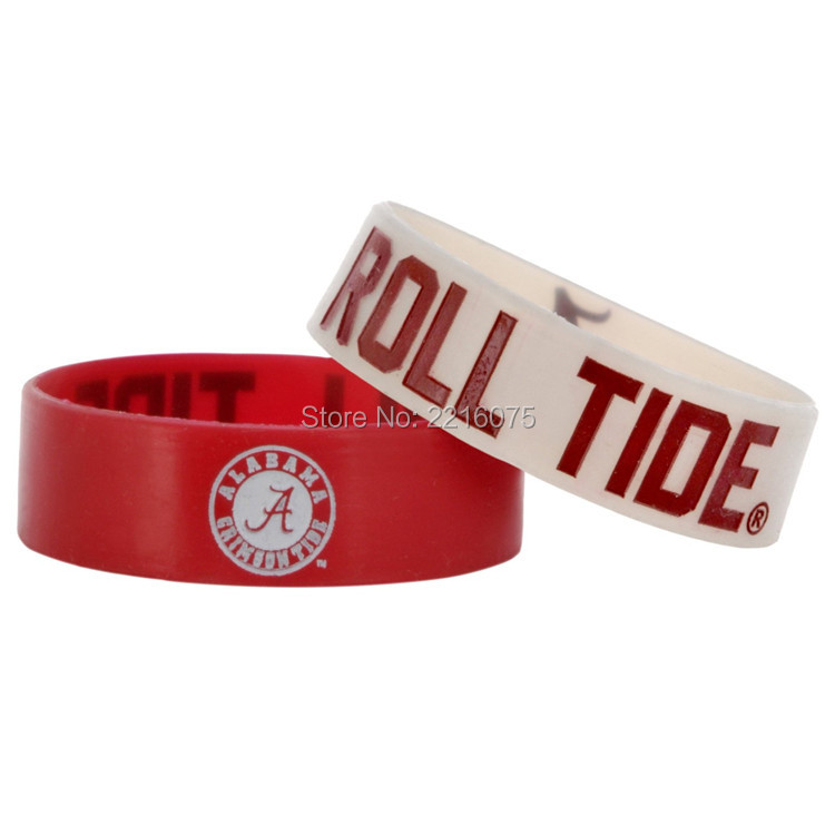 300pcs 25MM wide NCAA Alabama Crimson Tide wristband silicone bracelets free shipping by FEDEX express(China (Mainland))
