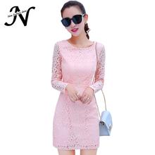 Pink Black White Blue Lace Dress Korean Style Long Sleeve Autumn Winter Fleece Thick Women Dress Ladies Dresses Robe Hiver 3430(China (Mainland))