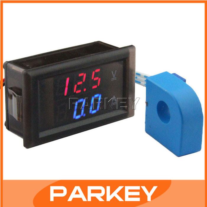 Perforated type Red Blue Display DC Voltage Current Dual Measure Meter DC100V Digital Voltmeter 20A Digital Ammeter 2in1 #200962
