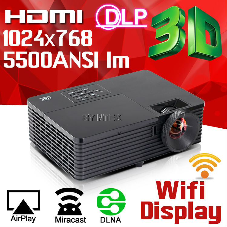 Проектор DLNA/AirPlay/Miracast wifi 5500ANSI HDMI 1080p HD 3D DLP Proyector BYINTEK new car wi fi mirrorlink box for ios10 iphone android miracast airplay screen mirroring dlna cvbs hdmi mirror link wifi mirabox
