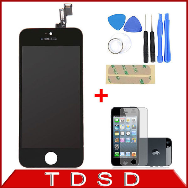 White / Black A++ 100% Guarantee LCD Display Touch Screen Digitizer Assembly + Tools + Screen Protector for iPhone 5S Wholesale(China (Mainland))