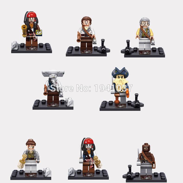 Wholesale Minifigure XSZ Pirates of the Caribbean Captain Jack Sparrow Building Blocks Sets Model Bricks font