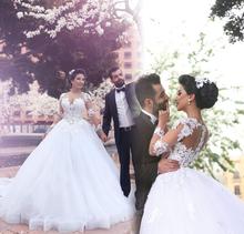 Buy Robe De Mariage Petticoat Saudi Ball Gown Sheer Long Sleeve Wedding Dress 2017 Appliques Organza Tulle Robe De Mariee for $212.58 in AliExpress store
