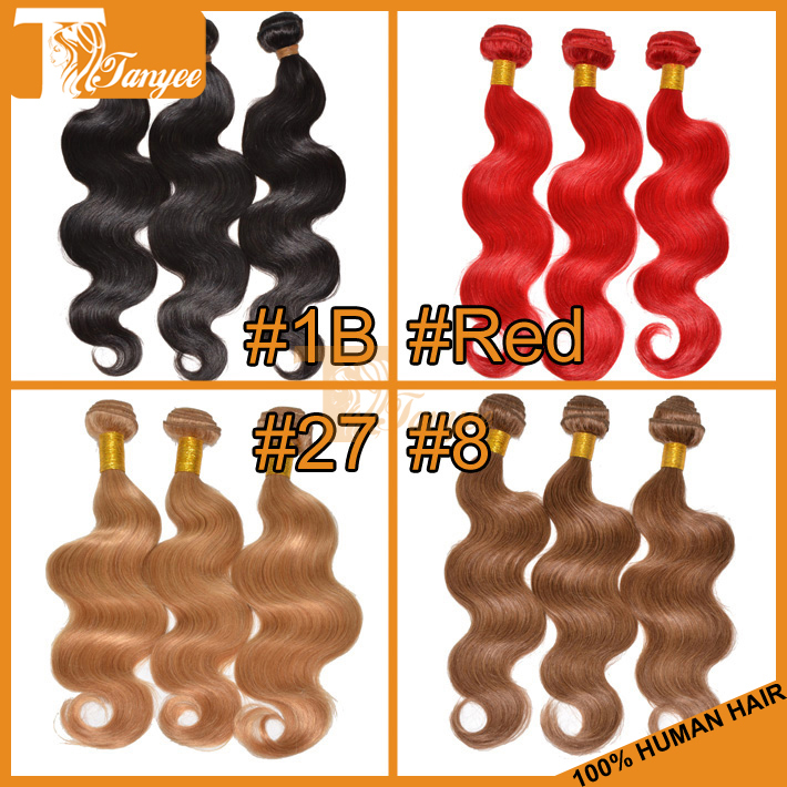 5A+ Malaysian Virgin Hair Body Wave Rosa Hair Products Remy Human Hair Sew In Weaves Red Black Brown Blond Extensions Wholesale(China (Mainland))