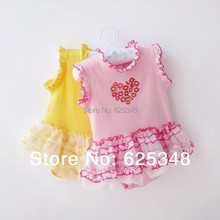 Retail-2015 Summer Floral Sleeveless Baby Bodysuits Girls Baby Clothing  Baby Dress(China (Mainland))