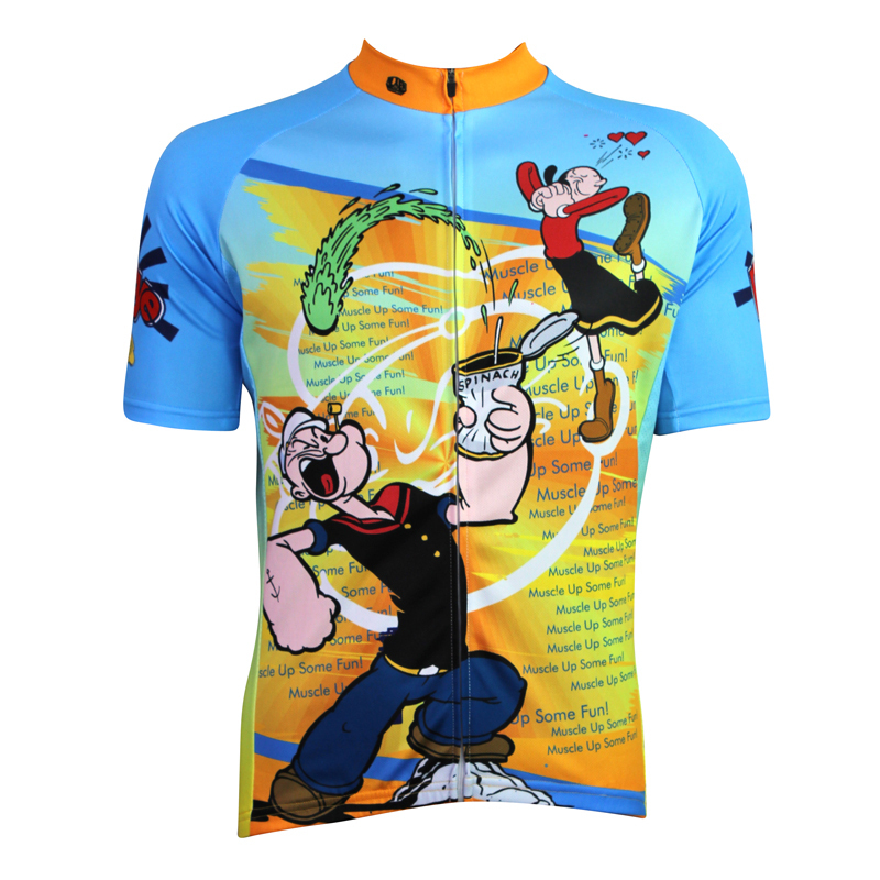 2015 Cartoon Cycling Clothing Short Sleeve Sailor Man Funny Jersey Cute Popeye Animation Bike Shirts - cycling jerseys' store