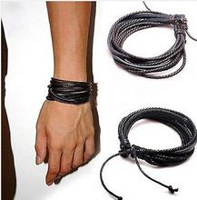 braided bracelets Leather bracelet wrist band Multi-layer wrap hemp braid cuff cool black & coffee brown leather Bangles men's(China (Mainland))