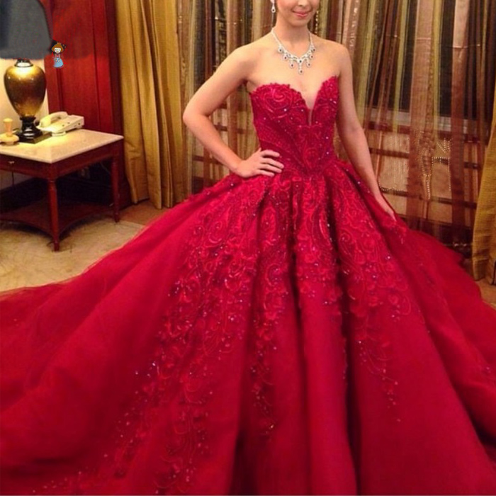 2015 red wedding dresses ball gown beaded lace appliqued for Big red wedding dresses