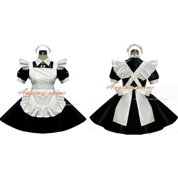 Free Shipping Sexy Sissy Maid Pvc Dress Lockable Uniform Cosplay Costume Tailor-made(China (Mainland))
