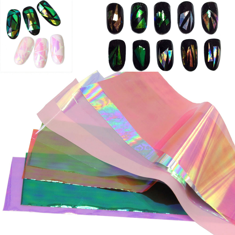 5/10/20 Colors 3D Holographic Broken Glass Foils Finger Nail Art Mirror Stickers Glitter Stencil Decal DIY Manicure Design Tools(China (Mainland))