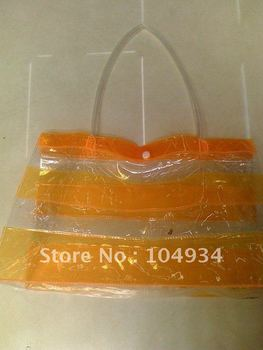 free shipping transparent pvc bag/popular gift packaging bag/orange pvc handbag