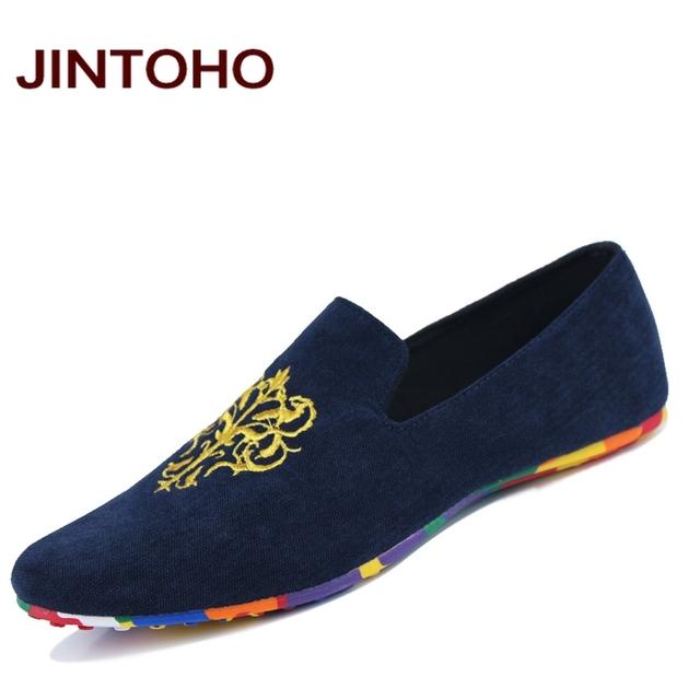 JINTOHO мода замши мужчины обувь мягкие кожаные плоские обувь повседневная поскользнуться ...