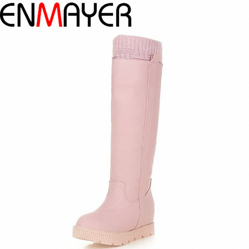 ENMAYER 2015 Knee-High Boots for women Round Toe wedges snow boots Shoes White, pink winter boots snow boots platform sweet girl