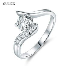 Buy GULICX Brand Fashion Unique Mid Rings Women 2017 White Gold-color Ring Crystal Cubic Zirconia Wedding Band Jewelry R075 for $1.47 in AliExpress store