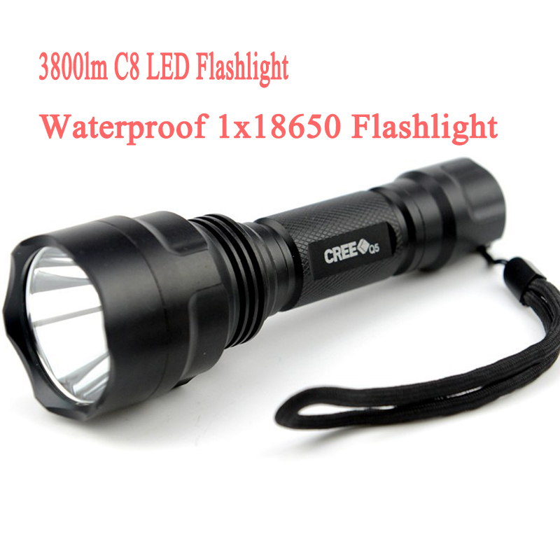 3800lm C8 LED Flashlight Hunting Torch Cree Q5 Led Torch Cree light lantern  Waterproof For 1x18650<br><br>Aliexpress