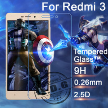 0.26mm 9H Explosion Proof Anti scratch LCD Tempered Glass Film For Xiaomi Redmi 3 red rice 3 Screen Protector Film
