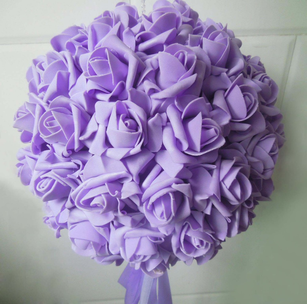 Free EMS Shipping 4pcs 15'' 38cm Artificial PE Foam Rose Kissing Balls Wedding Centerpiece Decoration Rose Balls(China (Mainland))