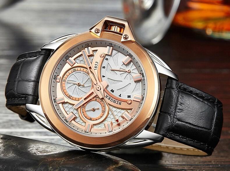 2016 Новый Мужчины Швейцария Часы Марка Бингер Движение Моды Роскошь Наручные Часы relojes mujer Кварцевые Часы relogio feminino