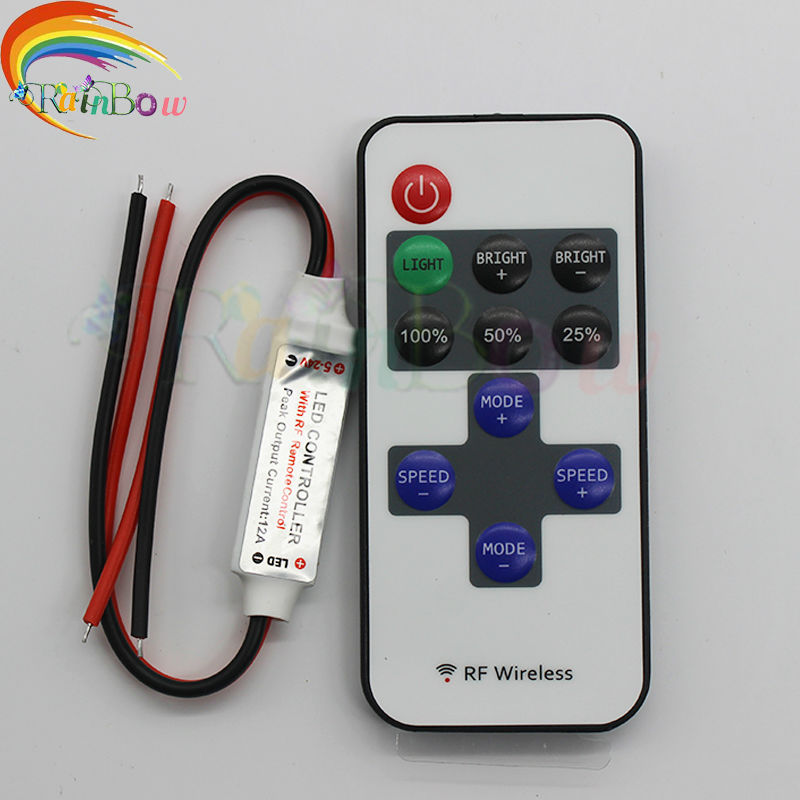 RF Single Color Remote Control Dimmer DC 12V 11keys Mini Wireless RF LED Controller for led Strip light SMD 5050 / 3528(China (Mainland))