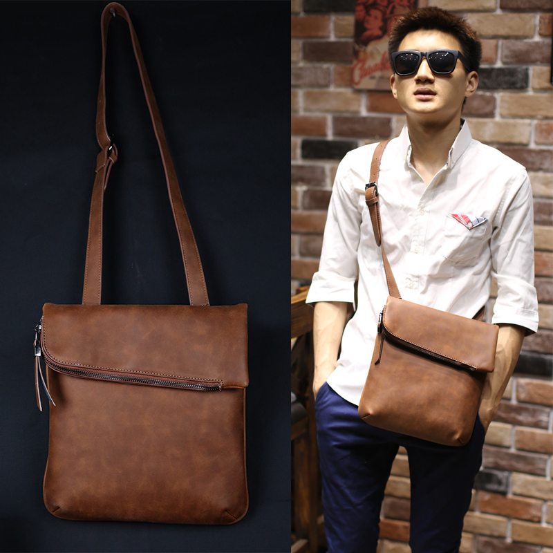 New Fashion Business Men Crazy Horse pu Leather Bag Leisure Men Messenger Bags Vintage Brown Men's Shoulder Crossbody Bag PX067(China (Mainland))