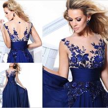 New 2016 long fashion Blue Princess elegant cheap party dresses women's vestido de festa Bridesmaid Dress(China (Mainland))
