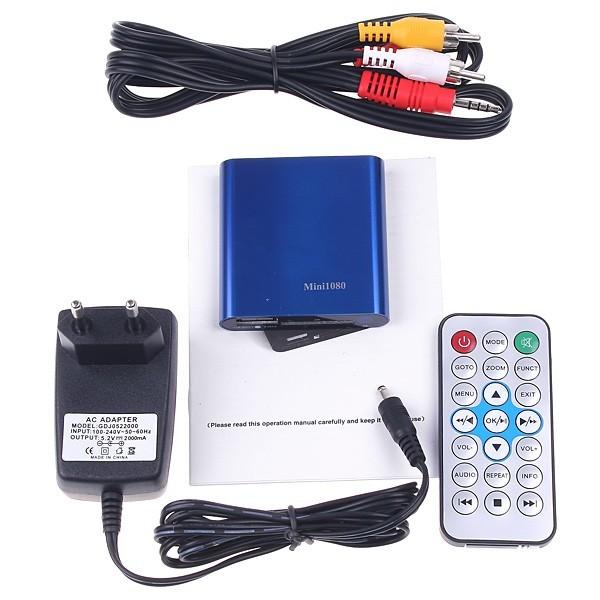 Multimedia HD 1080P Mini Media Player MKV/RM/RMVB H.264 Player Support HDMI CVBS YPbPr SD/SDHC Card With IR Remote Control<br><br>Aliexpress