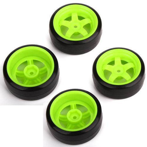 RC 1: 10 Racing Car Plastic Smooth Tires + Green 5 Spoke Wheel Rims 4pcs(China (Mainland))