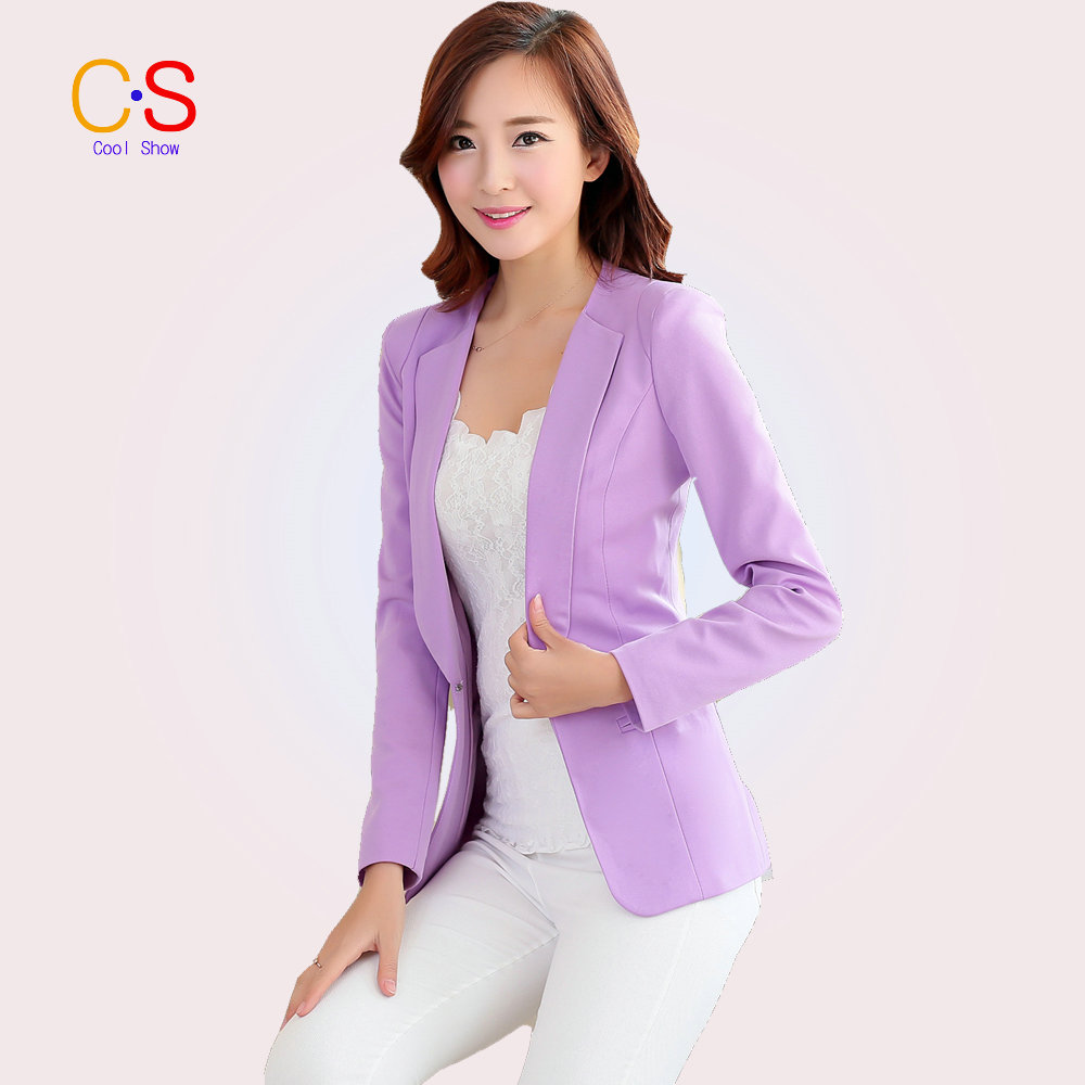 Fashion Candy Color Women One Button Blazer Jacket Business Lady Slim Suit Single Blazer Spring(China (Mainland))