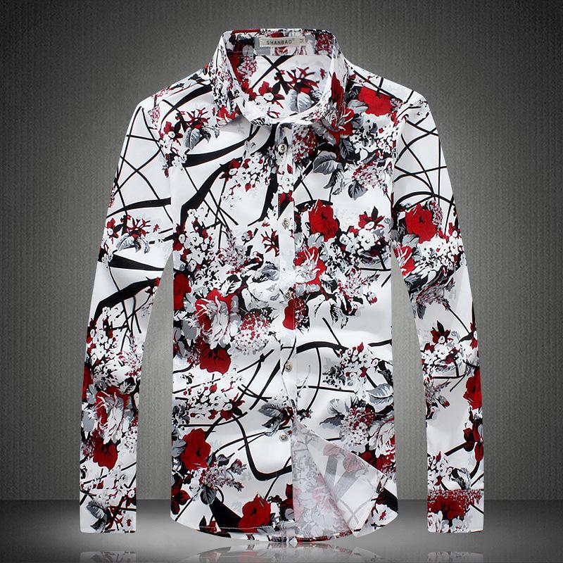 2016 new men's long-sleeved shirt High quality fashion men's Slim casual shirt floral romantic large size men clothing(China (Mainland))