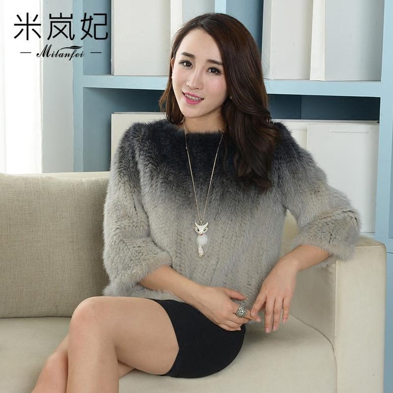 Haining 2016 new sets of imported mink fur knitting head jacket color season brigor female gradually(China (Mainland))