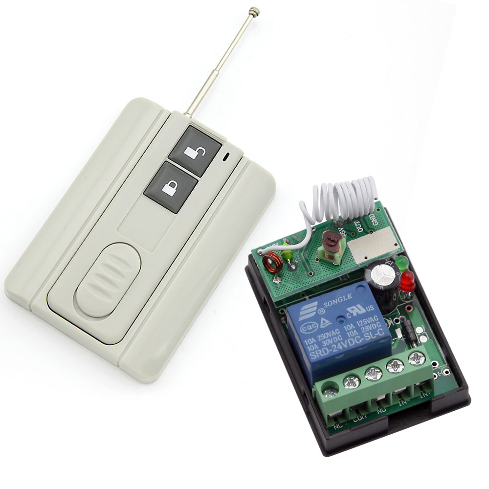 RF DC 24V Wireless Learning Remote Control Light Switch 433Mhz Grey Color Transmitter 1 Channel Relay(China (Mainland))