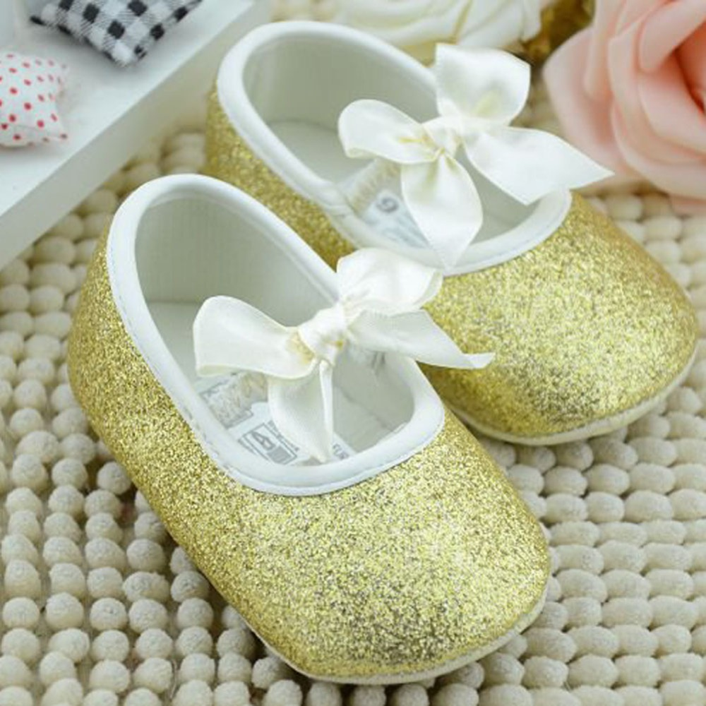 Bling Golden Infant Girls Shoes Soft Bottom Shoes Toddler Shoes Baby Shoes Prewalker First Walkers Soft Bebe Infant Shoes FCI#
