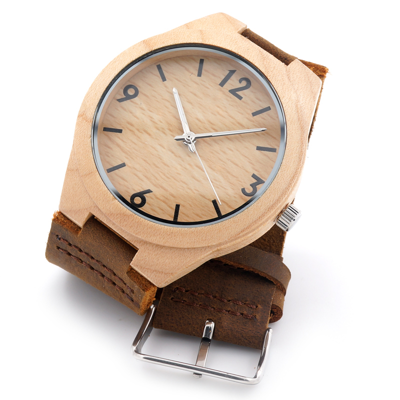 Fashion Natural Bamboo Wooden Men's Round Genuine Leather Watches Luxuly Women's Wristwatches as Great Christmas Idea Gifts(China (Mainland))