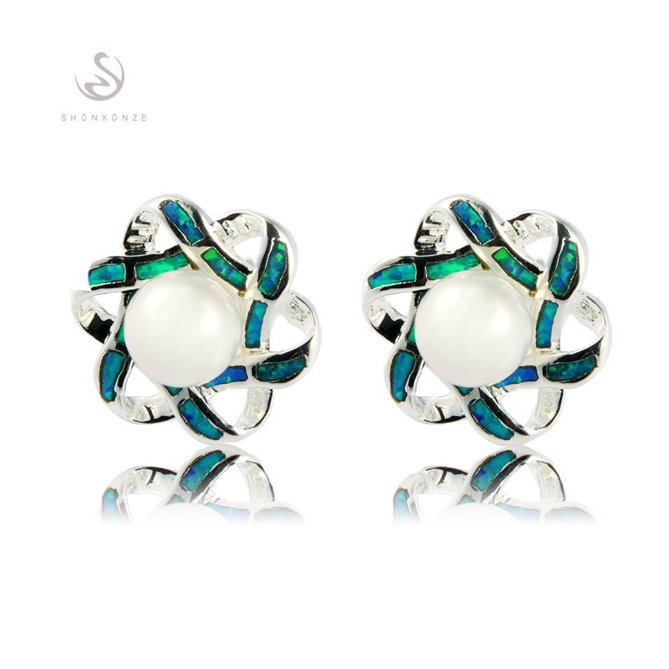 White pearl.and Blue opal Silver rock Jewelry Earrings new product Fashion E4102 Noble Generous Explosion models - shunxunze Watch & store