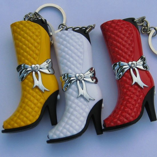 New 1pcs Funky leather boot Shape Lighter Key Chain butance gas cigarette lighter big fun!Lady's Lighter Gift