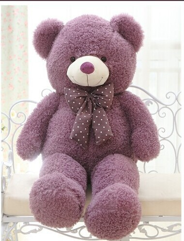 lovely teddy bear doll candy colours purple teddy bear with spots bow plush toy doll birthday gift about 80cm<br><br>Aliexpress