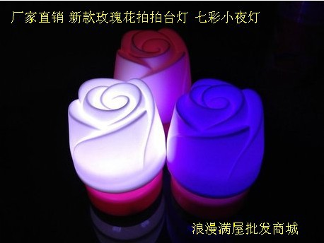 Free Shipping HGHomeart The new colorful night light pat lamp roses wedding candle decoration wedding gift ideas(China (Mainland))
