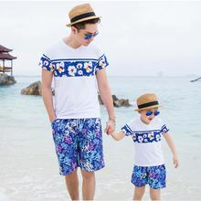 summer 2016 father and son clothes family t-shirt boys pants mom and daughter blue flower girl dresses women long beach dress
