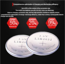 High quality NEW 2PCSX LIR2032 3.6V pkcell button cell battery LIR2032 rechargeable battery can replace the CR2032 battery