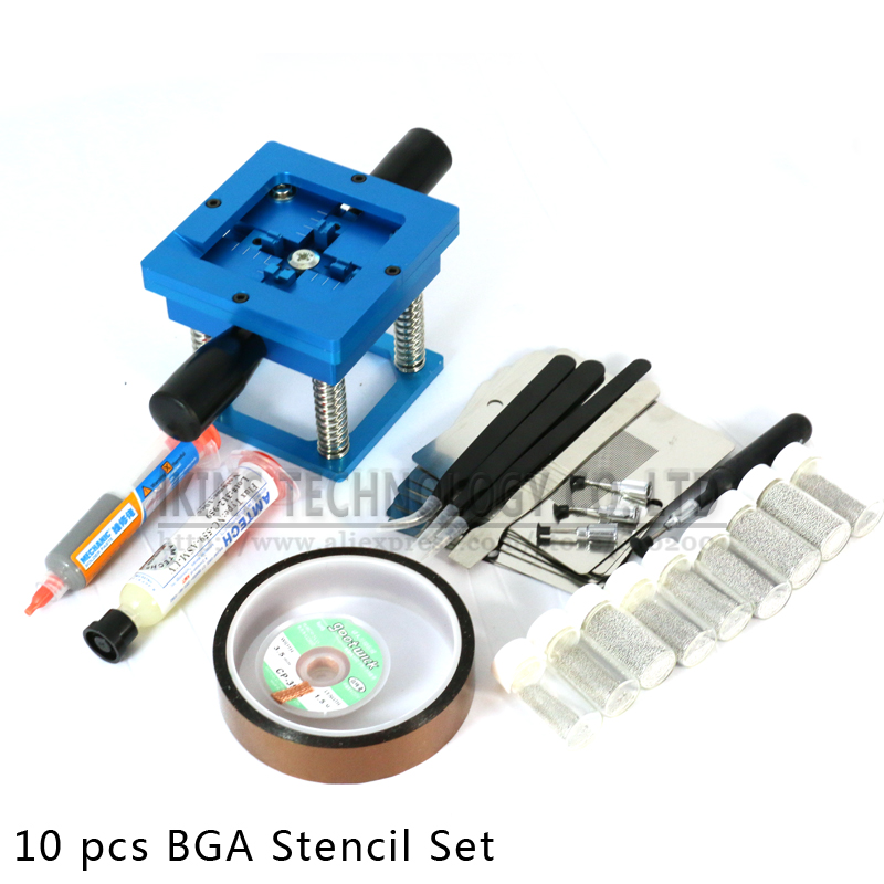 Free shipping 90*90 BGA rework fixtures with 10pcs Universal Reballing Bga Stencil kit+Accessories for Laptop Game console(China (Mainland))