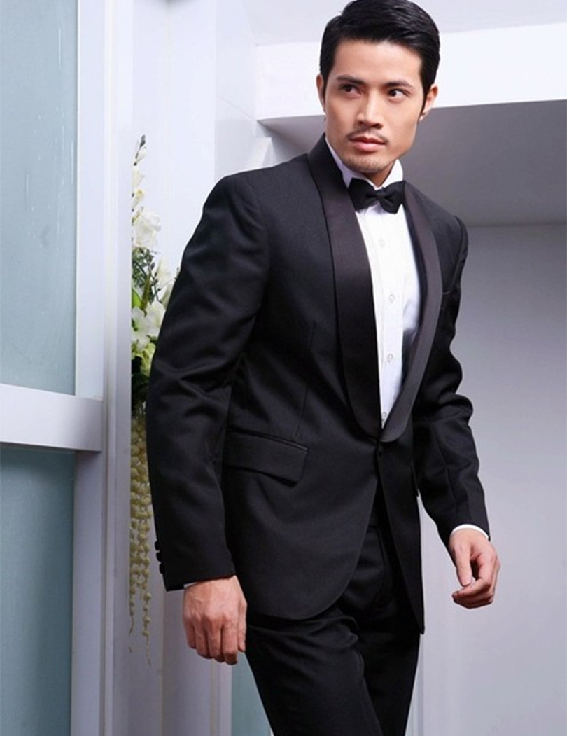 Buy custom made groom tuxedos men wedding suit 2015 black ...