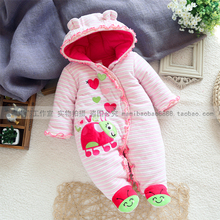 New 2014 autumn winter baby Clothing baby & kids cotton long-sleeve wadded rompers baby girls newborn cute pink striped overall(China (Mainland))